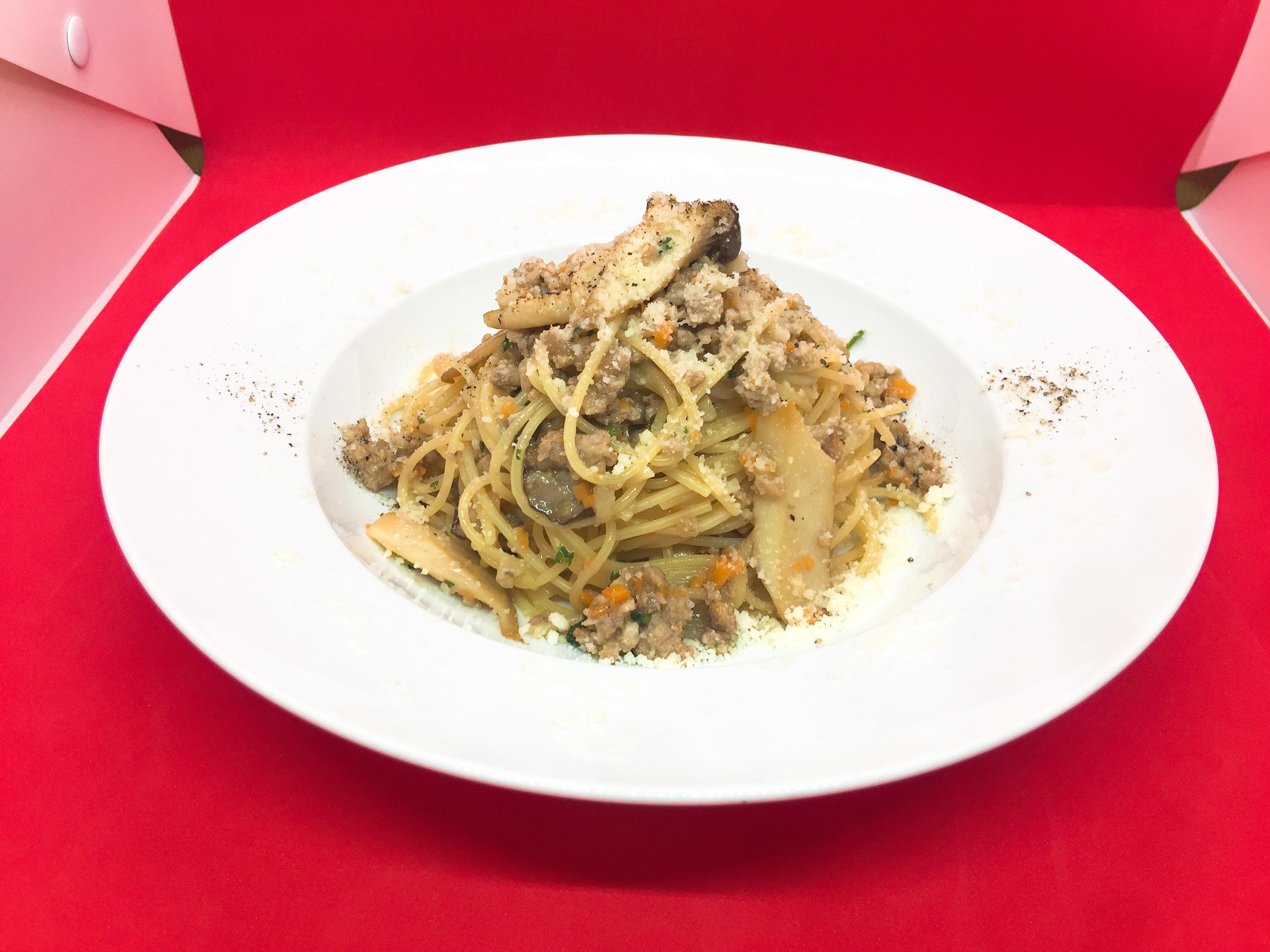 びえいポーク挽肉とエリンギスパゲッティ